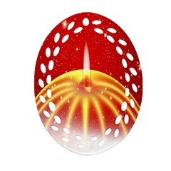 Advent Candle Star Christmas Oval Filigree Ornament (Two Sides)