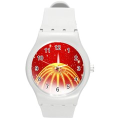 Advent Candle Star Christmas Round Plastic Sport Watch (m)