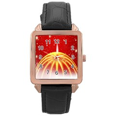 Advent Candle Star Christmas Rose Gold Leather Watch