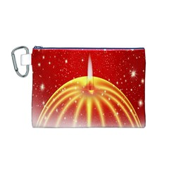 Advent Candle Star Christmas Canvas Cosmetic Bag (m)