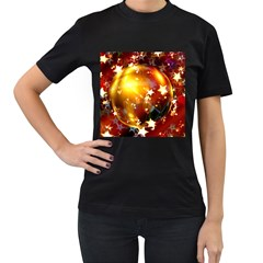 Advent Star Christmas Women s T Shirt (black) (two Sided)