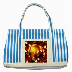 Advent Star Christmas Striped Blue Tote Bag