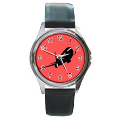 Air Plane Boeing Red Black Fly Round Metal Watch