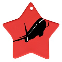 Air Plane Boeing Red Black Fly Ornament (star)