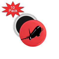 Air Plane Boeing Red Black Fly 1 75  Magnets (10 Pack)