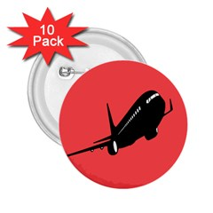 Air Plane Boeing Red Black Fly 2 25  Buttons (10 Pack)