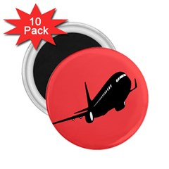 Air Plane Boeing Red Black Fly 2 25  Magnets (10 Pack)