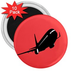 Air Plane Boeing Red Black Fly 3  Magnets (10 Pack)