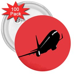 Air Plane Boeing Red Black Fly 3  Buttons (100 Pack)