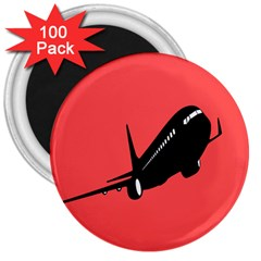 Air Plane Boeing Red Black Fly 3  Magnets (100 Pack)