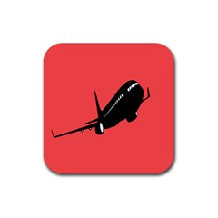 Air Plane Boeing Red Black Fly Rubber Coaster (square)