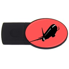 Air Plane Boeing Red Black Fly Usb Flash Drive Oval (4 Gb)