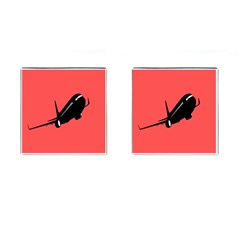 Air Plane Boeing Red Black Fly Cufflinks (square)