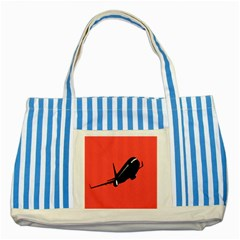 Air Plane Boeing Red Black Fly Striped Blue Tote Bag