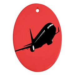 Air Plane Boeing Red Black Fly Oval Ornament (two Sides)