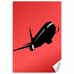 Air Plane Boeing Red Black Fly Canvas 12  X 18
