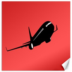 Air Plane Boeing Red Black Fly Canvas 16  X 16