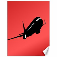 Air Plane Boeing Red Black Fly Canvas 18  X 24