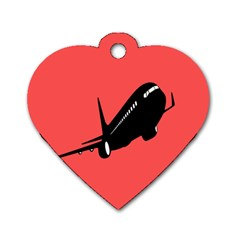 Air Plane Boeing Red Black Fly Dog Tag Heart (two Sides)
