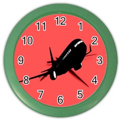 Air Plane Boeing Red Black Fly Color Wall Clocks