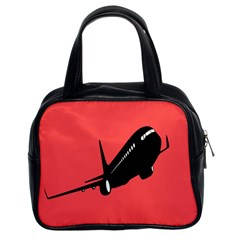 Air Plane Boeing Red Black Fly Classic Handbags (2 Sides)