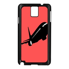 Air Plane Boeing Red Black Fly Samsung Galaxy Note 3 N9005 Case (black)