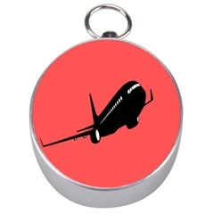 Air Plane Boeing Red Black Fly Silver Compasses