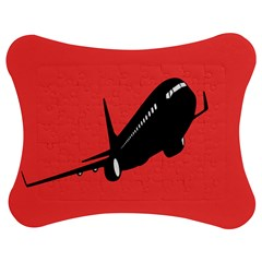 Air Plane Boeing Red Black Fly Jigsaw Puzzle Photo Stand (bow)