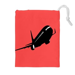 Air Plane Boeing Red Black Fly Drawstring Pouches (extra Large)