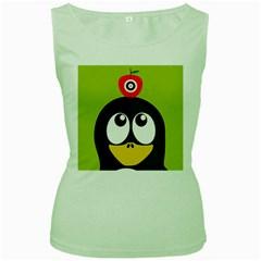 Animals Penguin Women s Green Tank Top