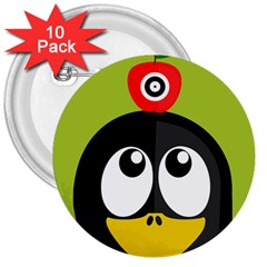 Animals Penguin 3  Buttons (10 Pack)