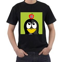 Animals Penguin Men s T Shirt (black) (two Sided)