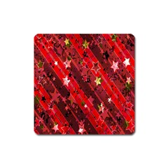 Advent Star Christmas Poinsettia Square Magnet