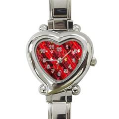 Advent Star Christmas Poinsettia Heart Italian Charm Watch