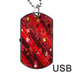 Advent Star Christmas Poinsettia Dog Tag USB Flash (One Side)