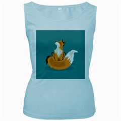 Animal Wolf Orange Fox Women s Baby Blue Tank Top