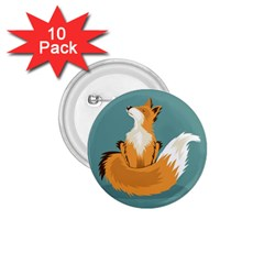 Animal Wolf Orange Fox 1 75  Buttons (10 Pack)