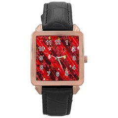 Advent Star Christmas Poinsettia Rose Gold Leather Watch