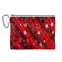 Advent Star Christmas Poinsettia Canvas Cosmetic Bag (l)