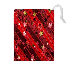 Advent Star Christmas Poinsettia Drawstring Pouches (Extra Large)