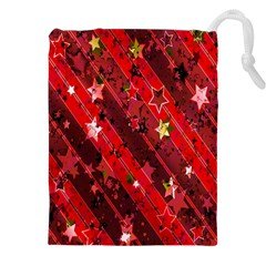 Advent Star Christmas Poinsettia Drawstring Pouches (XXL)