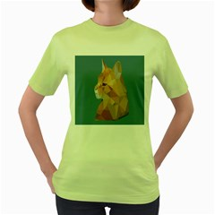 Animals Face Cat Women s Green T Shirt
