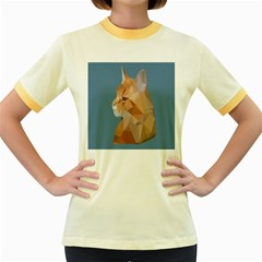Animals Face Cat Women s Fitted Ringer T Shirts