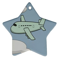 Airplane Fly Cloud Blue Sky Plane Jpeg Ornament (star)