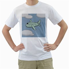 Airplane Fly Cloud Blue Sky Plane Jpeg Men s T Shirt (white) (two Sided)