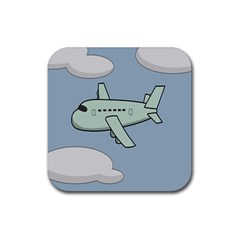 Airplane Fly Cloud Blue Sky Plane Jpeg Rubber Coaster (square)