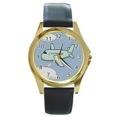 Airplane Fly Cloud Blue Sky Plane Jpeg Round Gold Metal Watch