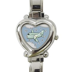 Airplane Fly Cloud Blue Sky Plane Jpeg Heart Italian Charm Watch