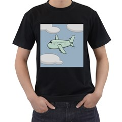 Airplane Fly Cloud Blue Sky Plane Jpeg Men s T Shirt (black) (two Sided)