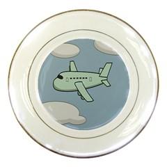 Airplane Fly Cloud Blue Sky Plane Jpeg Porcelain Plates